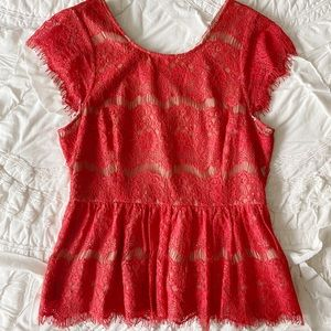 Anthropologie Maeve red lace top Size M